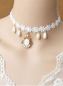 Christmas Gift Snowflake Pendant Lace Pearl Lolita Choker