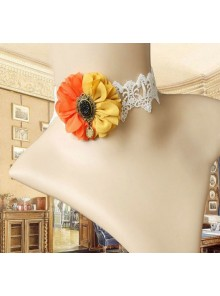 Retro Handmade White Lace Two-color Flower Lolita Necklace