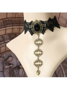 Retro Gothic Black Lace Queen Lolita Necklace