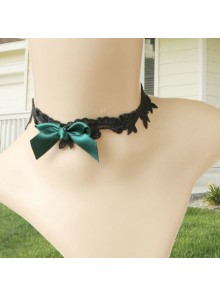 Retro Dark Green Bow Floral Lolita Choker