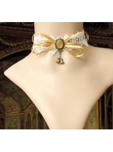 White Lace Yellow Bowknot Girls Lolita Choker