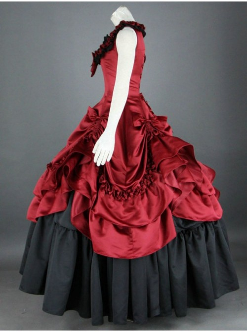 Sleeveless Red And Black Floral Double-Layer Cotton Lolita Prom Dress