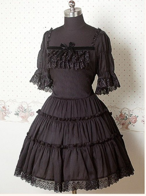 Chiffon Black Puff Sleeves Bow Ruffle Lolita Dress