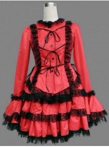 Red Long Sleeves Lace Trim Cotton Girls Sweet Lolita Dress