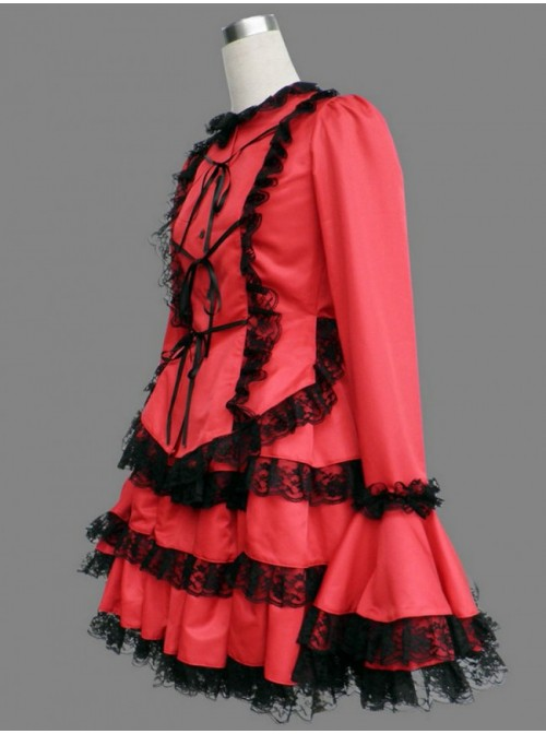 Red Long Sleeves Lace Trim Cotton Girls Sweet Lolita Dress