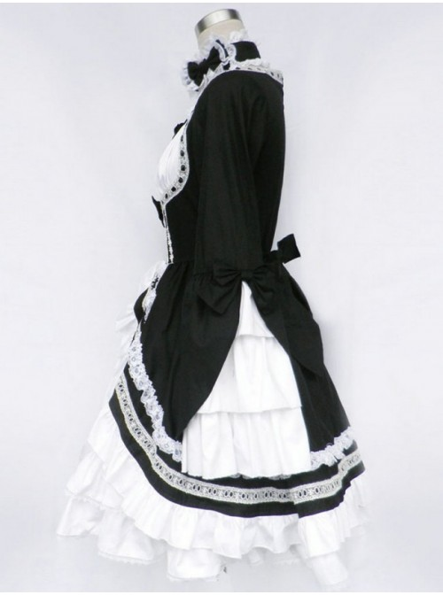 Black And White Long Sleeves Bow Cotton Gothic Lolita Dress