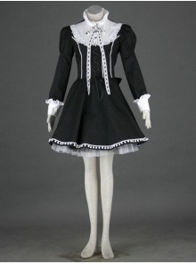 Black Charming Long Sleeves Cotton Gothic Lolita Dress