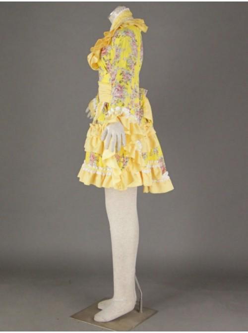 Yellow Beautiful Long Sleeves Cotton Sweet Lolita Dress