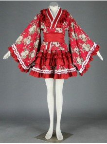Red Beautiful Long Sleeves Cotton Sweet Lolita Dress