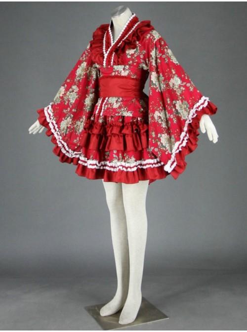 Red Beautiful Long Sleeves Cotton Sweet Lolita Dress