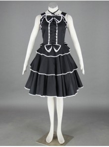 Black Sleeveless Cotton Gothic Lolita Dress