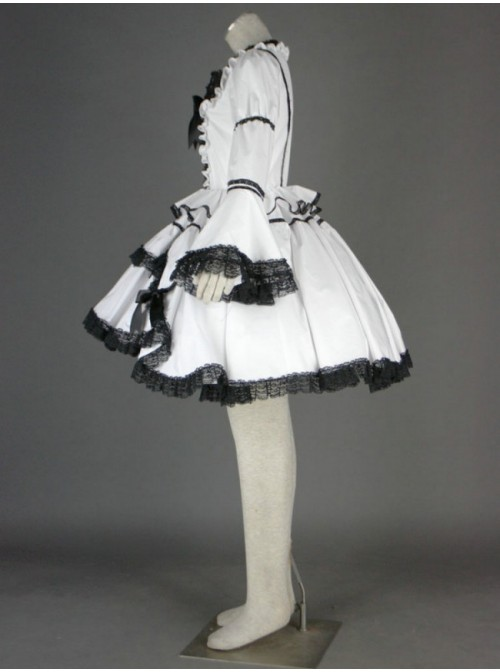 Black And White Long Sleeves Lace Trim Cotton Gothic Lolita Dress