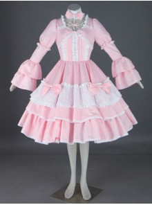 Pink Long Sleeves Cotton Sweet Lolita Dress