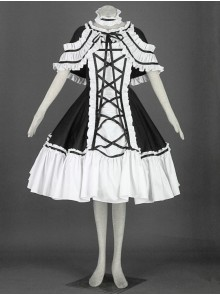 Black And White Cute Girls Cotton Sweet Lolita Dress