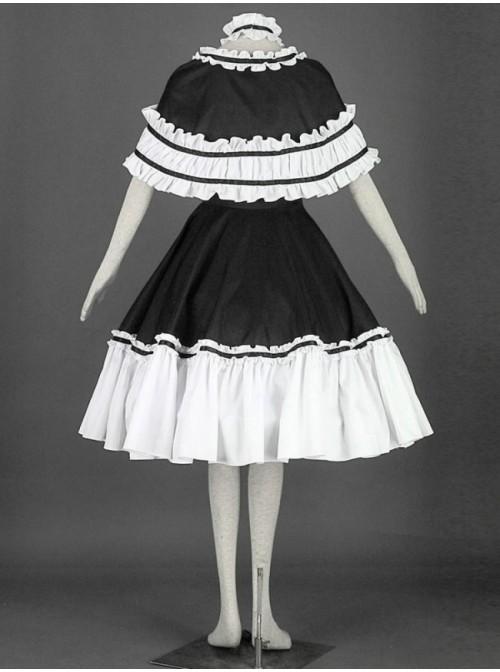 Black And White Cute Girls Cotton Sweet Lolita Dress