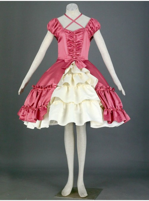 Red And White Short Sleeves Double-Layer Cotton Sweet Lolita Dress