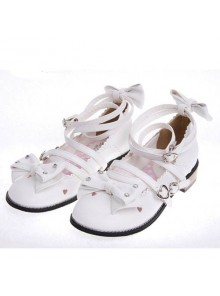 "White 1.0"" Heel High Cute Suede Round Toe Bow Platform Girls Lolita Shoes"
