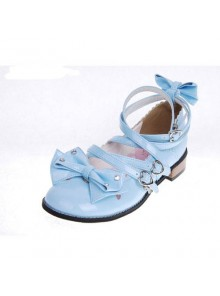 "Blue 1.0"" Heel High Beautiful Suede Round Toe Bow Platform Girls Lolita Shoes"