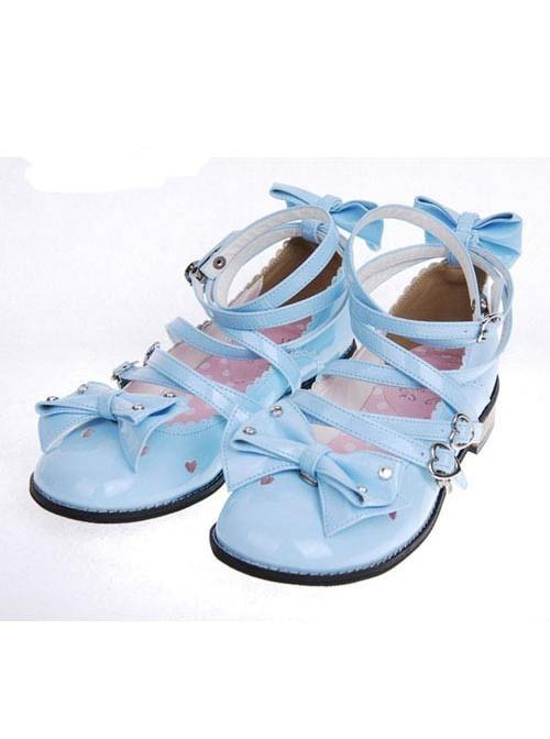 "Blue 1.0"" Heel High Beautiful Suede Round Toe Bow Platform Girls Lolita Shoes"