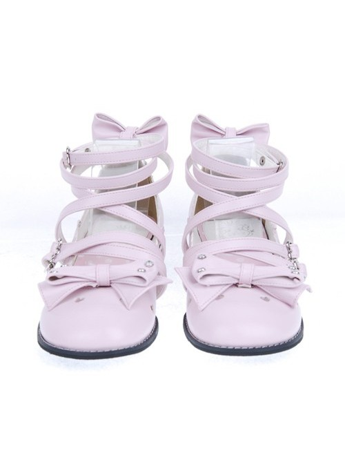 "Pink 1.0"" Heel High Cute Suede Round Toe Bow Platform Girls Lolita Shoes"