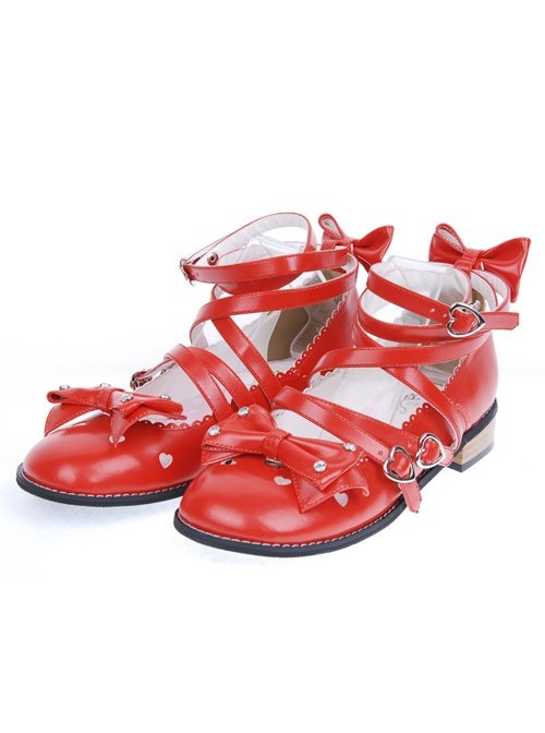 """Red 1.0"""" Heel High Cute Suede Round Toe Bow Platform Girls Lolita Shoes"""