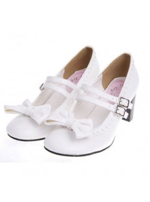 "White 2.5"" Heel High Lovely Synthetic Leather Point Toe Bow Platform Girls Lolita Shoes"