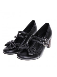 "Black 2.5"" Heel High Beautiful Synthetic Leather Point Toe Bow Platform Girls Lolita Shoes"