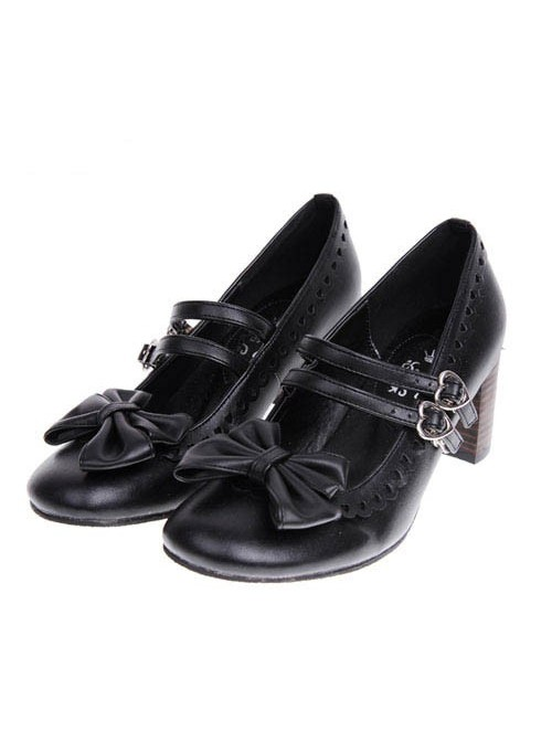 """Black 2.5"""" Heel High Beautiful Synthetic Leather Point Toe Bow Platform Girls Lolita Shoes"""