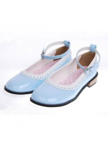 "Sky-Blue 1.0"" Heel High Cute Polyurethane Round Toe Ankle Straps Platform Girls Lolita Shoes"