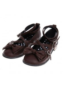 "Brown 1.0"" Heel High Elegant Polyurethane Point Toe Ankle Straps Platform Girls Lolita Shoes"