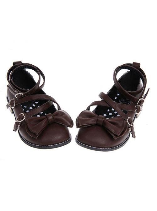 "Brown 1.0"" Heel High Elegant Polyurethane Point Toe Ankle Straps Platform Girls Lolita Shoes"