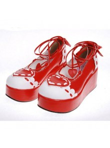 "Red 2.4"" Heel High Special PU Round Toe Ankle Straps Platform Girls Lolita Shoes"