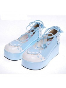 "Sky-Blue 2.4"" Heel High Special PU Round Toe Ankle Straps Platform Girls Lolita Shoes"