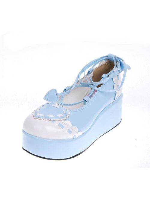 "Sky-Blue 2.4"" Heel High Special PU Round Toe Ankle Straps Platform Girls Lolita Shoes"