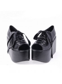 "Black 3.9"" Heel High Lovely Patent Leather Point Toe Cross Straps Platform Women Lolita Shoes"