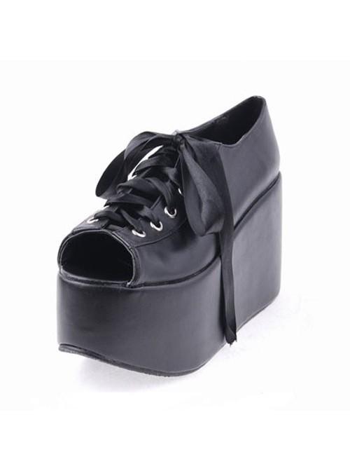 "Black 3.9"" Heel High Lovely Patent Leather Point Toe Cross Straps Platform Women Lolita Shoes"