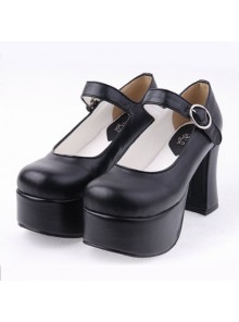 "Black 3.7"" Heel High Lovely PU Round Toe Cross Straps Platform Lady Lolita Shoes"