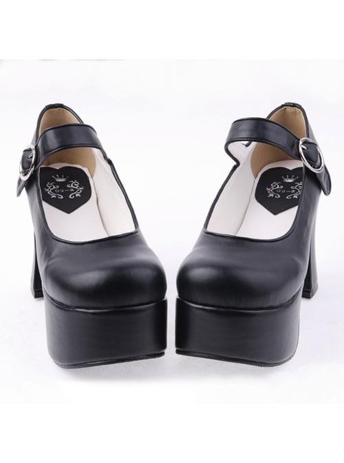 "Black 3.7"" Heel High Lovely PU Round Toe Cross Straps Platform Lady Lolita Shoes"