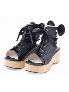 "Black 2.7"" Heel High Romatic PU Point Toe Cross Straps Platform Lady Lolita Sandals"