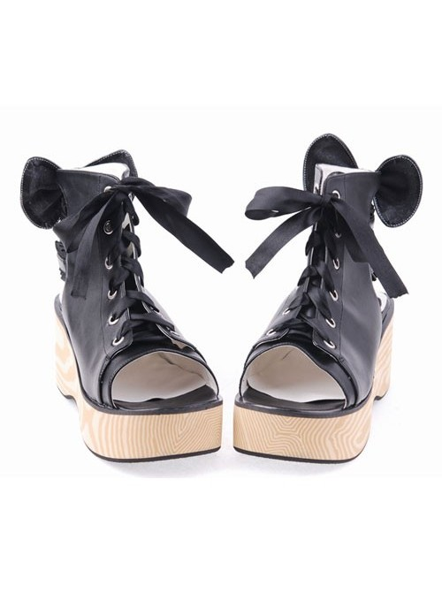 "Black 2.7"" Heel High Romatic PU Point Toe Cross Straps Platform Lady Lolita Sandals"