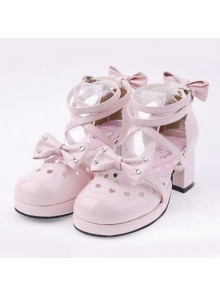 "Pink 2.5"" Heel High Cute Patent Leather Point Toe Bow Decoration Platform Lady Lolita Shoes"