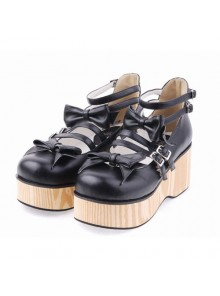 "Black 2.7"" Heel High Adorable Patent Leather Round Toe Bow Decoration Platform Lady Lolita Shoes"