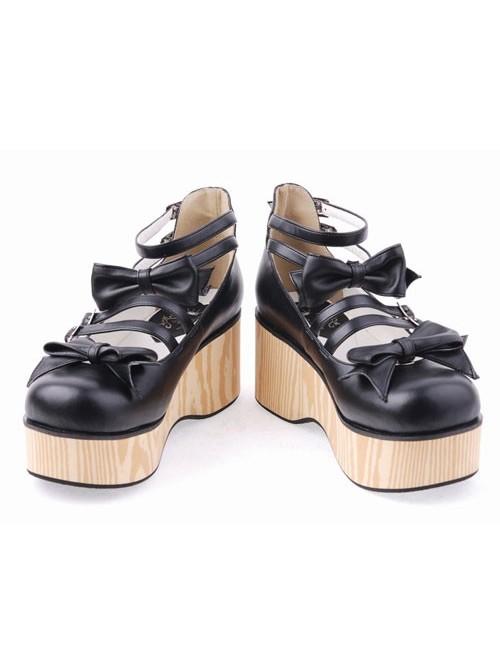 "Black 2.7"" Heel High Adorable Patent Leather Round Toe Bow Decoration Platform Lady Lolita Shoes"