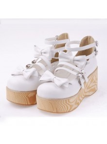 "White 2.7"" Heel High Adorable Patent Leather Round Toe Bow Decoration Platform Lady Lolita Shoes"