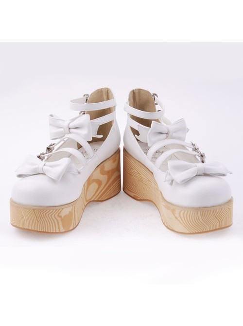 """White 2.7"""" Heel High Adorable Patent Leather Round Toe Bow Decoration Platform Lady Lolita Shoes"""