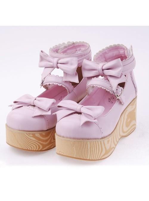"Pink 2.7"" Heel High Beautiful Patent Leather Round Toe Bow Decoration Platform Women Lolita Shoes"
