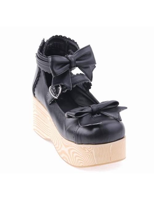 "Black 2.7"" Heel High Lovely Patent Leather Round Toe Bow Decoration Platform Women Lolita Shoes"