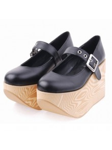 "Black 3.9"" Heel High Romatic Synthetic Leather Point Toe Ankle Straps Platform Women Lolita Shoes"