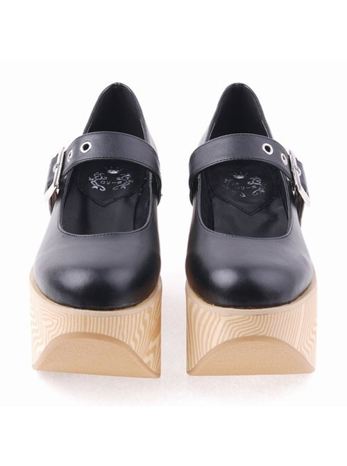 """Black 3.9"""" Heel High Romatic Synthetic Leather Point Toe Ankle Straps Platform Women Lolita Shoes"""