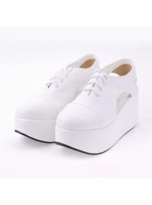 "White 3.1"" Heel High Romatic Suede Point Toe Cross Straps Platform Women Lolita Shoes"